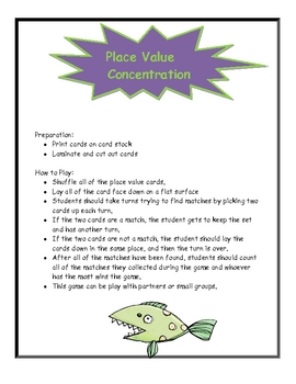 Place Value Concentration Game