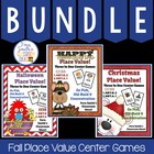 Place Value FALL Bundle of Concentration, Go Fish & Old Ma