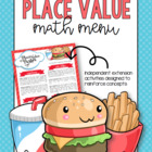 Place Value Math Menu