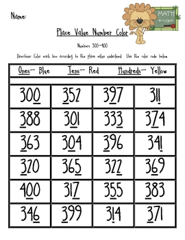 Place Value Number Color