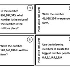 Place Value Task Cards to the Hundred Millions