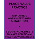 Place Value and Representing Numbers in Various Ways Worksheets