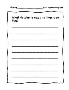 Plant Writing Task Booklet