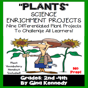 Plants Science Differentiated Writing Project Menu w/ VOCABULARY