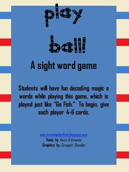Play Ball! A baseball silent e word game!