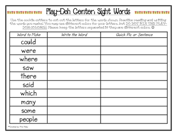 Play Doh Center - Sight Words