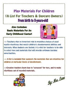 Play Materials For Children (A List For Teachers & Daycare