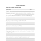 Playbill Actor Biography worksheet
