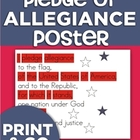 Pledge of Allegiance Poster - Beginning Reader Friendly