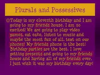 Plural and Possessives Lesson & PPT