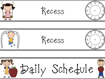 Pocket Chart Daily Schedule Cards