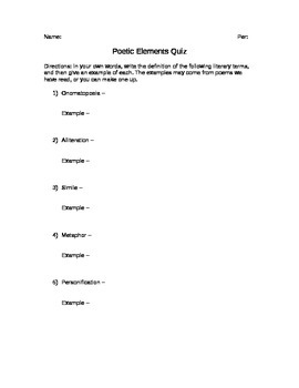 Poetic Elements Quiz