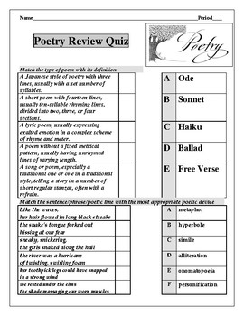 Poetry Introduction Quiz