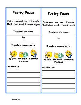 Poetry Pause Center Activity