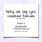Poetry &amp; Song Lyrics Comparison Activity w/Key