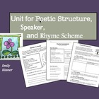 Poetry Unit for Poetic Structure, Speaker, and Rhyme Scheme