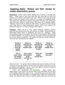 Poetry: Using Senses When Observing