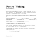 Poetry Writing - The Small Things