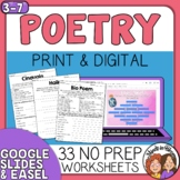 Poetry Writing Unit - 21 Poem Pattern Printables with Inst