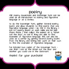 Poetry and Figurative Language PowerPoint and Scavenger Hunt
