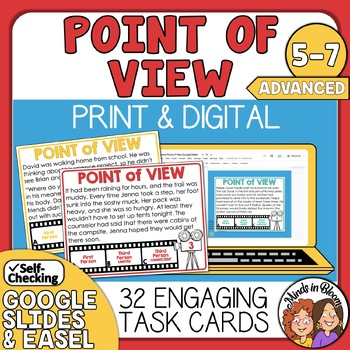 Point of View Task Cards for First, Third Limited and Third Omniscient POV