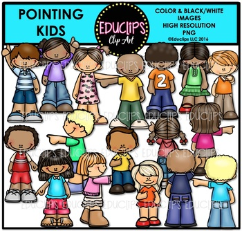 Pointing Kids Clip Art Bundle