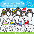 Polar Bear & Penguin Fun! Graphics From the Pond