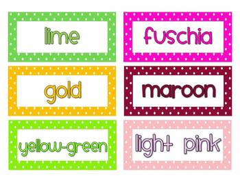 Polka Dot 24 Word Wall Color Words FREE