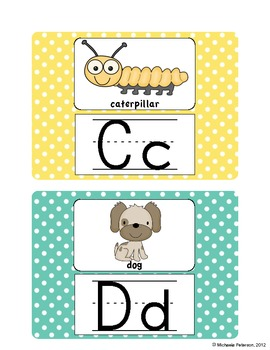Polka Dot Alphabet Word Wall Cards {Pictures and Letters}