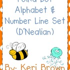 Polka Dot Alphabet and Number Line - D'Nealian