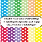 Polka Dot Backgrounds - Candy Colors (Digital Paper Clip A