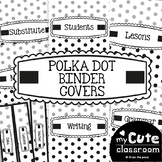 Polka Dot Binder Covers - Black and White