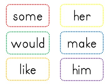 Polka Dot Border Word Wall Word Cards - First 300 Fry Words