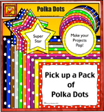 Polka Dot Borders, Frames, Labels, and Stars - from Charlo