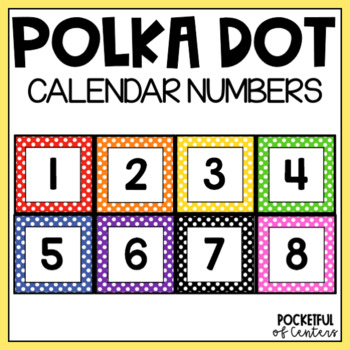 Polka Dot Calendar Number Cards