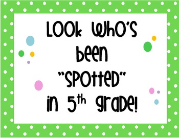 Polka Dot Class Sign - Fifth Grade