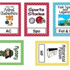 Polka Dot Classroom Book Basket Labels