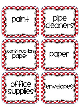Polka Dot Classroom Labels - Red Polka Dot Edition