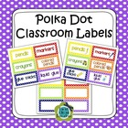 Polka Dot Classroom Supply & Number Labels (with and w/o p