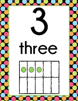 Polka Dot Number Display Signs (Black Background)