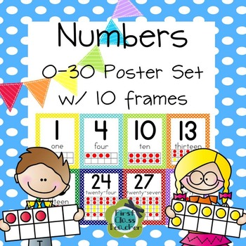 Polka Dot Numbers 0-30 Poster Set with Ten Frames (CCSS)