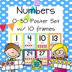 Polka Dot Numbers 0-30 Poster Set with Ten Frames