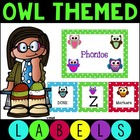 Polka Dot Owl Labels for Literacy Centers and Labels for the Room