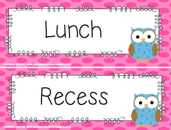 Polka Dot Owl Schedule Cards
