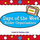 Polka Dot Themed Days of the Week File Folder Organization