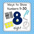 Polka Dot 0-30 Number Posters (Ten Frames, Tallies, Base Ten)