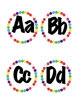 Polka Dot Word Wall Alphabet