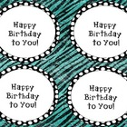 Polka dot Happy Birthday Crazy straw labels