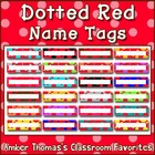 Polka dot student name plates: Red and Green