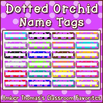 Polka dot student name plates: Red and Purple